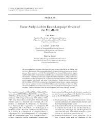 100 Dessa Dutch PDF Factor Analysis Of The Language Version Of The MCMIIII