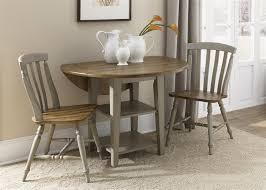 al fresco drop leaf leg table 3 piece dining set in driftwood