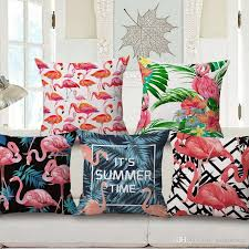 24 X 24 Patio Cushion Covers by 11 Styles Summer Time Flamingo Bird Cushion Covers Monstera Green