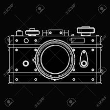 Vintage Photo Camera Black Cartoon Illustration Outline High Resolution 3D Stock