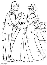 Cinderella With The Prince Charming Coloring Page