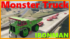 MONSTER TRUCK! Iron Man And Lightning McQueen With Big Green Truck ...