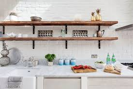 Rustic White Kitchen With Slim And Open Shelves Design Ideas