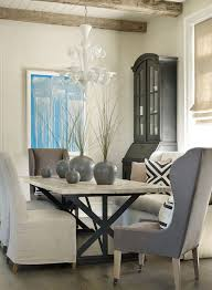 Sherwin Williams Portland Beach Style Dining Room Also Blue Abstract Art Exposed Beams Gray Vases Murano