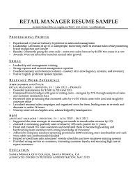 Retail Manager Resume Sample Download