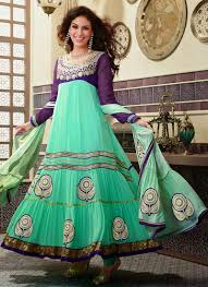 Light Green With Purple Color Amazing Shaded Anarkali Frock For Girls
