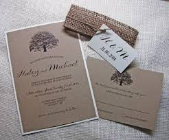 Oak Tree Wedding Invitation Rustic Burlap Kraft The Features Belly Band With Jute Twine