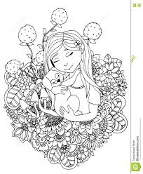 Vector Illustration Girl Child And Puppy In Flowers Doodle
