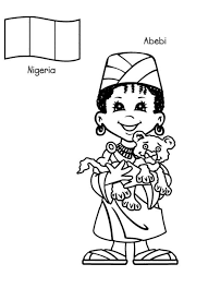 Around The World Abebi Nigerian Kid From Colouring Page