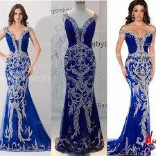 Evening Dresses 2017 Luxury Designer Prom Dress Off The Shoulder Crystal Sequined Bling Royal Blue Tulle Mermaid Formal Pageant Gowns 81891p