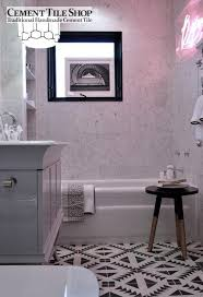 new cement tile bathroom floor white and black bathroom with