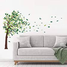 decalmile wandaufkleber baum wandsticker grüne blätter wohnzimmer schlafzimmer wanddeko l grün richtig