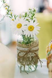 Burlap Lace Daisies Tied Together With Twine