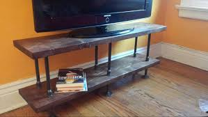 Industrial TV Stand Media Console Bookshelf Rustic