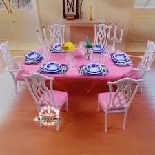 für ken puppe blau weiß esstisch set puppenhaus esszimmer möbel untertasse stuhl zubehör mädchen geschenk