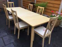 New Unused Beech Wood Extending Dining Table Six Matching Chairs
