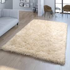 wohnzimmer hochflor teppich kunst fell design versch formen unifarben in creme größe 80x150 cm
