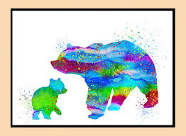 Mother Bear And Cub Bears Art PrintWatercolor By Erzebetth