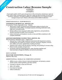 Resume Sample For Construction Worker Packed With Awesome Best Graph Example Of