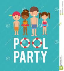 Kids Cartoon And Float Icon Swimming Pool Party Design Stock