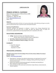 No Resume Sydney by Resume For Application Exle