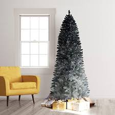 6ft Slim Christmas Tree With Lights by King Of Christmas 7 5 Foot Pre Lit King Flock Slim Christmas Tree