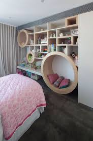 Here Is Another Combination Kids Bedroom With A Reading Nook Along The Wall Lower Circle Asymmetrical Shelves And Circles