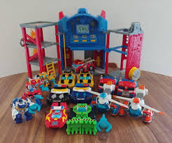 Rescue Bots Transformer Heroes Huge Lot Optimus Prime Firehouse ...