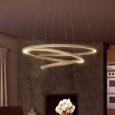 Your Ceiling Will Be Floored LED Chandelier Adjustable Hanging Light Modern Circular Lighting Tania Trio Collection