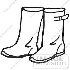 Gumboots clipart black and white