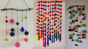 DIY Wall Hanging Crafts Ideas With Woolen Pom Simple Design