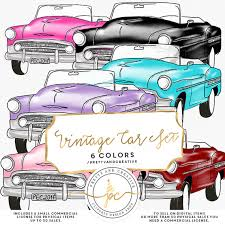 Vintage Car Clipart Set 7 Colors Clip Art Retro Watercolor Cars SetRetro VehiclesVintage CarsTraveling From