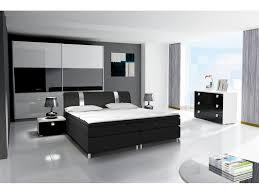 komplett schlafzimmer rivabox in hochglanz mit boxspringbett weiß schwarz