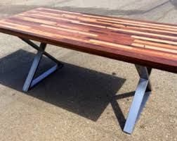 Custom Reclaimed Wood Rustic Modern Industrial Unique Patterned Indoor Outdoor Dining Table