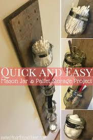 Mason Jar And Pallet Board DIY Storage Rack
