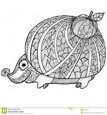 Royalty Free Vector Download Zentangle Stylized Hedgehog Adult Anti Stress Coloring Page