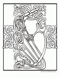 Irish Celtic Bird Cross Coloring Page
