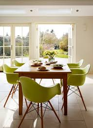 green kitchen dining charles and eames chairs modern
