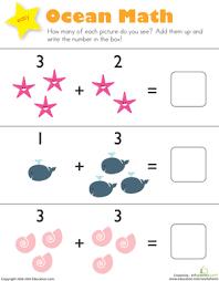 Kindergarten Math Worksheets Addition Ocean