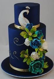 Wedding Theme Indian Wedding Cake Rich Navy Peacock