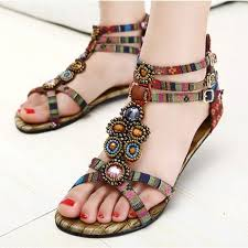 Women Shoes 2014 Lady Sandals Roman Flat Heel Comfortable Sunset Bohemian For Summer Shoe Big Size