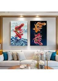 kanagawa fisch rot gemälde auf leinwand moderne schwarze