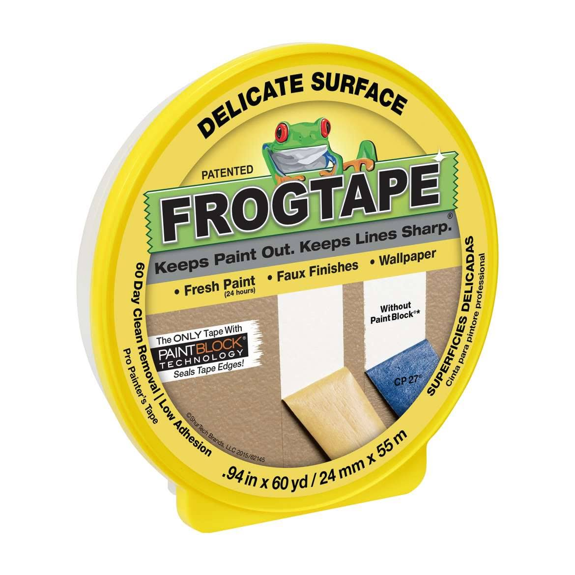 FrogTape Delicate Surface Painting Tape - Yellow, 0.94'' x 60 yds