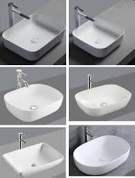 1x waschbecken keramik aufsatz eckig oval bad