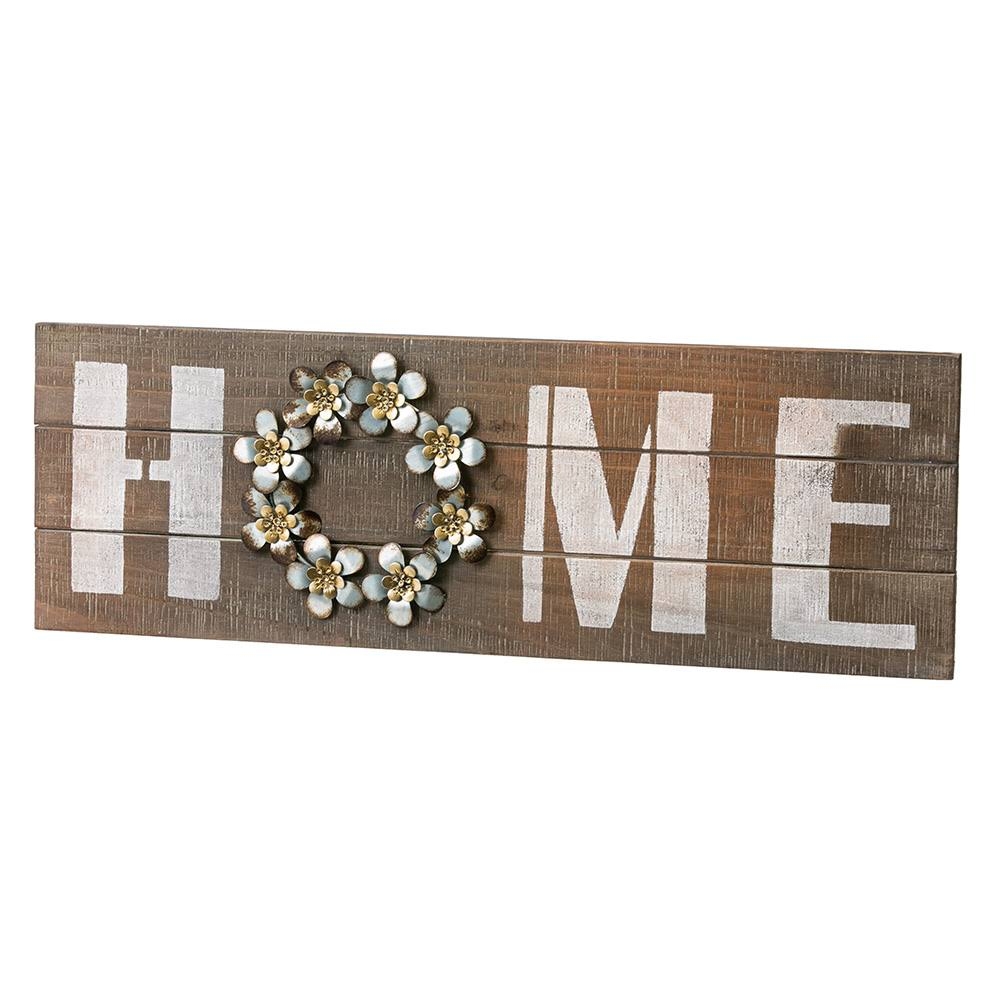 Home Wooden and Metal Wall Sign