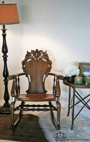 victorian gothic carved griffin oak antique rocking chair by
