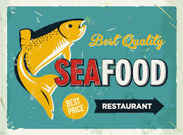 Download Grunge Retro Metal Sign With Seafood Logo Vintage Poster Old Fish Restaurant