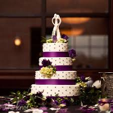 Four Tier White And Purple Cake With Grey Dots