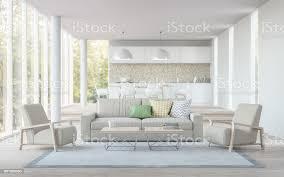 moderne wohn esszimmer und küche 3drendering schwarzweißbild stockfoto und mehr bilder architektur
