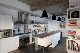 Industrial Kitchen Design Ideas With White Table Bar And Black